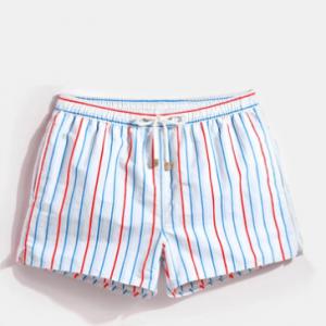 Men Stripe Swim Trunks Drawstring Quick Drying Mini Shorts for Running Lounge Shorts with Lining discountshub