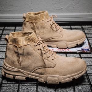 Men Synthetic Suede Splicing Pure Color Casual Ankle Boots discountshub