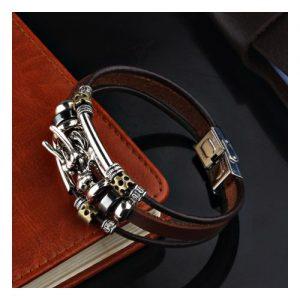 Men Tibetan Silver Leather Bracelet Dragon Multilayer discountshub