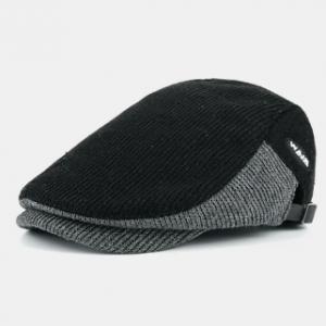 Men's Woolen Contrast Knit Cap Casual Hat Beret Hat discountshub
