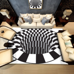 Ouniman Shaggy Rectangle Area Rug Creative 3D Modern Accent Rugs Anti-Skid Black White Plaid Check Contemporary Carpet Luxury Washable Living Dining Room Sofa Home Bedroom Floor Mat discountshub