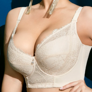 Plus Size Embroidery Gather Plunge Thin J Cup Push Up Long Lined Lace Bra discountshub