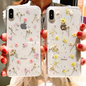 Real Dry Flower Glitter Clear Case For iPhone 8 7 Plus 6 6s Epoxy Star Transparent Case For iPhone X XR 11 Pro XS MAX Soft Cover discountshub