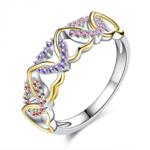 Romantic LOVE Engagement Ladies Ring Luxury Crystal Ladies Jewellery Accessories Micro Zircon Jewellery Valentine Day Gift discountshub