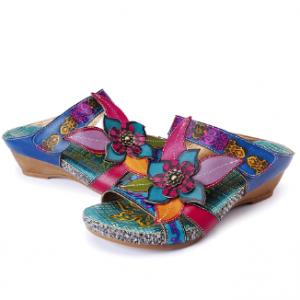 SOCOFY Bohemian Leather Adjustable Hook Loop Handmade Flowers Sandals discountshub
