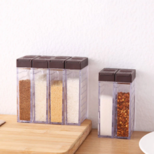 Six-Piece Set Creative Double Open Cover Seasoning Box With Base Transparent Six Grid Household Seasoning Pot Strong Seal Moistureproof discountshub