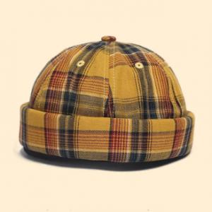 Skull Cap Dome Cap Innocent Plaid Sailor Cap Street Trends Melon Stripe Brimless Hats discountshub