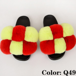 Summer Women Slippers Faux Fur Slides For Women Fluffy Slippers House Female Shoes Woman Slippers With Fur Pom Pon Furry Slides discountshub
