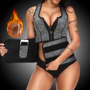 Sweat Zip Front Sauna Workout Adjustable Flat Tummy Slimming Vest discountshub