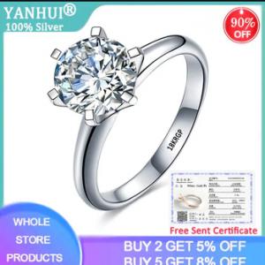 With Certificate Luxury Solitaire 2.0ct Zirconia Diamond Wedding Ring Original 18K White Gold Pt Silver 925 Ring Women Gift R168 discountshub