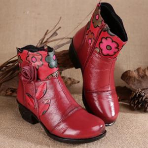 Women Soft Warm Lined Genuine Leather Flowers Zipper Ankle Boots discountshub