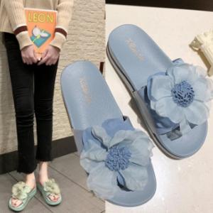Women Summer Casual Flowers Peep Toe Flat Platform Slippers discountshub