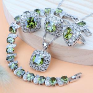 925 Sterling Silver Wedding Jewelry Sets Earrings For Women Luxury Costume Jewelry Bracelet Rings Bridal Pendant Necklace Set discountshub