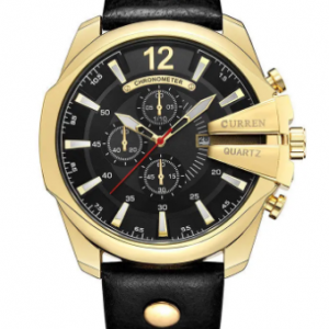 Big Dial Calendar Date Mens Watches Luxury Business Genuine Leather Strap Gold Watches for Men discountshub