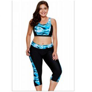 Emfed Aquatic Print Accent Crop Top & Capris Swimsuit discountshub