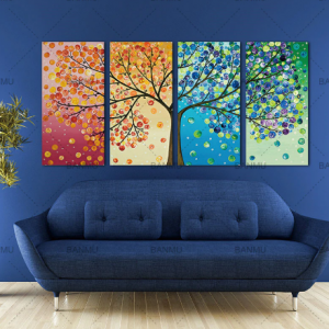 Four Season Lucky Life Tree Canvas Painting Plant Abstract Wall Art Print Poster Canvas Art Wall Pictures for Living Room Decor discountshub