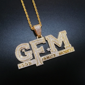 Iced Out Letters Pendant Necklace New Arrival God FAMILY MONEY AAA Zircon Men's Charms Necklace Hip Hop Jewelry discountshub