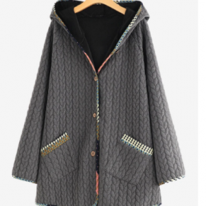 Jacquard Vintage Wooden Button Patch Hooded Jacket discountshub