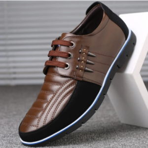 Men Genuine Leather Splicing Non Slip Soft Sole Casual Driving Shoes discountshub