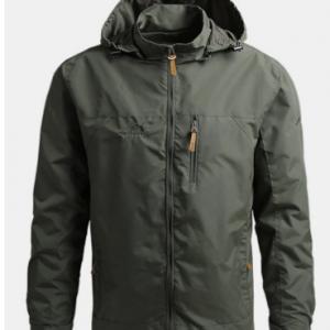 Mens Solid Windproof Outdoor Sport Zipper Up Turtleneck Hooded Jackets discountshub