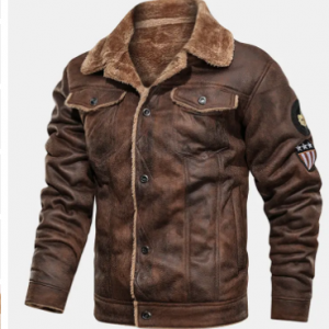 Mens Winter Fleece Lined Warm Faux Fur Leathers Suedes Thickened Coats Jackets discountshub