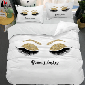 Miracille Eyelash Bed Linen Gold and Black Cute Eyes Pattern Bedding Set Quilt Cover Set 3 Piece Funny Duvet Covers for Home discountshub