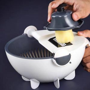 Multi Manual Slicer Rotate Vegetable Cutter With Drain vegetable washer Basket salad spinner Multi Kitchen Manual Veggie Slicer discountshub