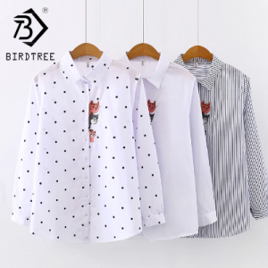 New Arrival Women Cat Embroidery White Shirt Turn-down Collar Long Sleeve Button Up Blouse Cute Girls Top Feminina Blusas T9D401 discountshub