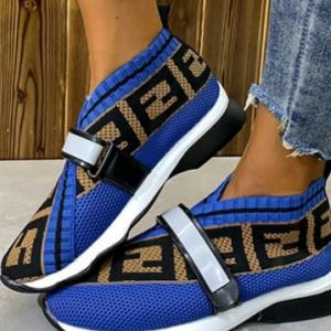 Plus Size Women Round Toe Breathable Mesh Hook Loop Sneakers discountshub