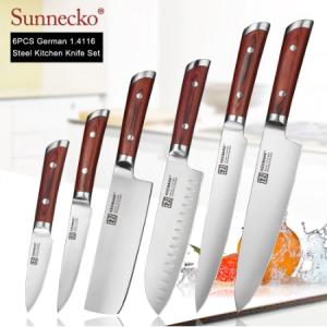 SUNNECKO Professional Chef Knife German 1.4116 Steel Blade Slicing Cleaver Bread Utility Paring Kitchen Knives Color Wood Handle discountshub