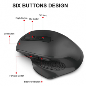SeenDa Rechargeable 2.4G Wireless Mouse 6 Buttons Gaming Mouse for Gamer Laptop Desktop USB Receiver Silent Click Mute Mause discountshub