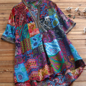Vintage Ethnic Style Floral Print Plus Size Cotton Shirt discountshub