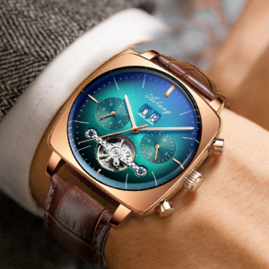 swiss watch mechanical automatic chronograph Square Large Dial Watch Hollow Waterproof 2020 New mens fashion watches luxury discountshub