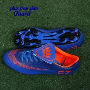 【Ready Stock】 FG Soccer Shoes Football Boots Comfortable Breathable Boot Blue discountshub