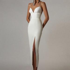 Adyce New Summer Women White Bodycon Bandage Dress Sexy V Neck Spaghetti Strap Club Celebrity Runway Party Maxi Dresses Vestidos discountshub