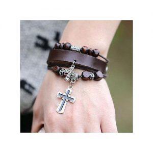 Beaded Cross Leather Bracelet-Brown discountshub