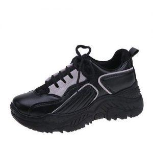 Female Classy Black Laceup Sneakers - Black discountshub