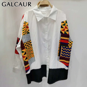 GALCAUR Patchwork Print Embroidery Shirt For Women Lapel Long Sleeve Casual Loose Hit Color Blouse Female 2020 Autumn Fashion discountshub