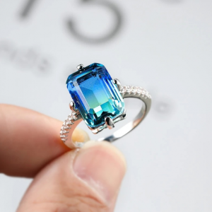 Geometric Blue Green Gradient Zircon Engagement Rings For Women Vintage Fashion Silver Color Rainbow Stone Ring Wedding Jewelry discountshub
