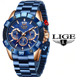 LIGE 2020 New Fashion Blue Mens Watches Top Brand Luxury Clock Sports Chronograph Waterproof Quartz Watch Men Relogio Masculino discountshub