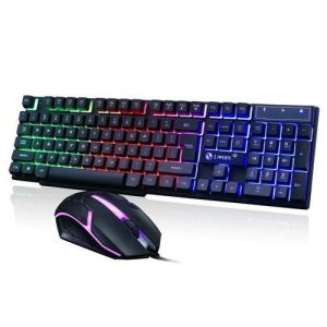 Limeide USB Wired PC Rainbow LED Gaming Keyboard With Mouse discountshub