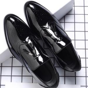 Men Brogue Tassel Decor Loafers Slip Resistant Business Formal Shoes discountshub