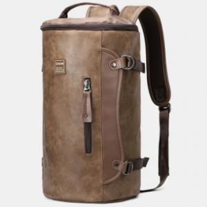 Men Large Capacity Leather Outdoor Travel Backpack Bucket Bag discountshub