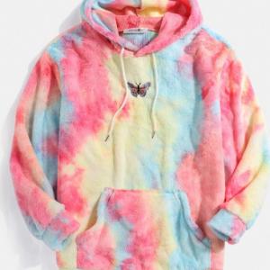 Mens Butterfly Embroidered Tie-Dye Fleece Fluffy Pouch Pocket Hoodie discountshub
