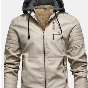 Mens PU Leather Plus Velvet Zip Front Thicken Hooded Jackets With Zipped Welt Pockets discountshub