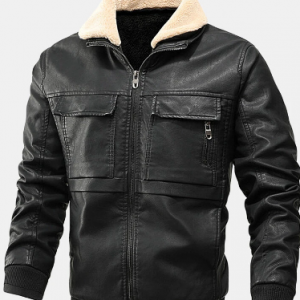 Mens PU Leather Thicken Zip Front Lapel Collar Jackets With Flap Pockets discountshub