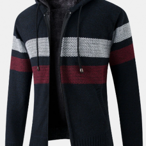 Mens Patchwork Zip Front Plush Lined Knit Cotton Long Sleeve Hooded Cardigans discountshub