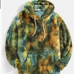 Mens Tie-Dye Fluffy Fleece Pouch Pocket Teddy Hoodie discountshub