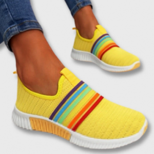 Plus Size Women Rainbow Stripe Knitted Breathable Casual Walking Shoes discountshub
