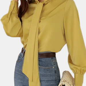 Solid Color Long Sleeve Shirt With Lace Tie For Women discountshub